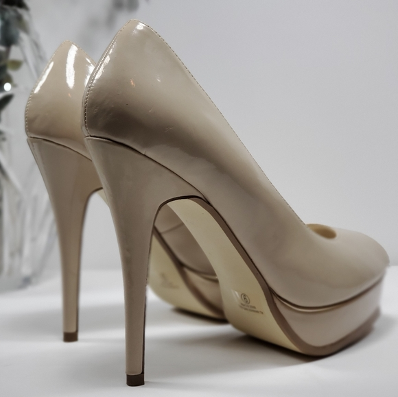 Guess Shoes   Guess Nude Patent Leather Platform Slingback
